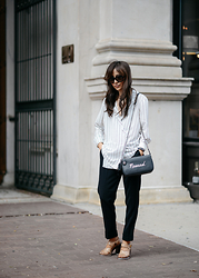 Diana Z Wang - Tibi Blouse, Brochu Walker Pants, Tod's Sandals, Coach Crossbody, Prada Sunglasses - Sleek Lines