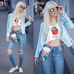 Oksana Orehhova - Sammydress Top, Sammydress Bag, Style Moi Jacket, Zerouv Sunglasses, Fashion Nova Jeans - DRINKING UNICORN TEARS