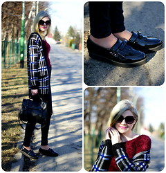 Kamila Krawczyk - Office Shoes, Topshop Jeans, Zara Cardigan, Modekungen.Se Bag, Stylemoi Sweater - Check mix