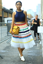 Sharena C. - Jovani Multi Colored Skirt, 3.1 Phillip Lim Yellow Clutch, Zara White Loafers - Colors