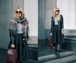 Anna Pogribnyak - Oasap Skirt, Yoins Backpack, Newdress Sunglasses, Persunmall Scarf/Cape, Topshop Boots - Midi skirt and burgundy accents