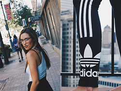 Jenna Boron - Urban Outfitters Readers, Urban Outfitters Crop Top, Adidas Leggings - THE ADIDAS COMEBACK