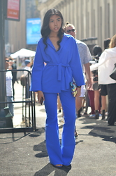 Sharena C. - La Petite Robe De Chiara Boni Blue Suit, Zara Blue Heels, Desigual Multi Color Clutch - Lady in Blue
