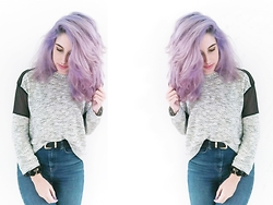 Celeste Mür - Crazy Colors Lavender Hair, Zara Jersey, Primark Cool Belt, Pull & Bear Skinny Jeans - New grunge hair, new grunge life. (Tutorial at description)