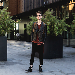 Martin Bonke - New #Ootd On Fckhim.Com!, Topman Leather Biker Jacket, Pull & Bear Knitted Sweater, H&M Plaid Shirt, H&M Black Jeans, Sacha Shoes Cut Out Boots - Autumn Feelings.