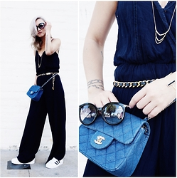 Gigi Lam - Creme De La Fame Navy Jumpsuit, Chanel Belt, Adidas Originals Sneakers, Miu Sunglasses, Chanel Bag - GOLD ORIGINALS