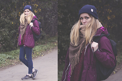 Anya Rise - River Island Hat, Romwe Scarf, Herschel Bag, Romwe Sweater, Romwe Jeans, New Balance Shoes - Autumn Look