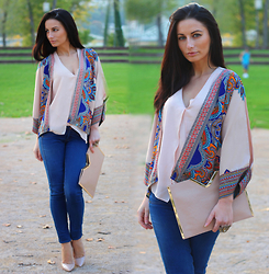 LOOK DU JOUR BY ANA - Dresslink Ethnic Print Loose Kimono Jacket, H&M Beige Asymmetric Layered Top, Bershka Blue Skinny Jeans, Asos Nude V Bar Clutch, Christian Louboutin Nude Stilettos - THE ETHNIC KIMONO JACKET