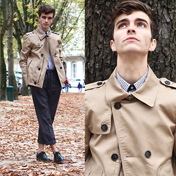 "Matthias C. - Brice Trench Coat, Brice Patterned Shirt, Brice Elastic Suit Pants, Monsieur Moustache Shoes - ""Heures"""