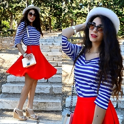 Marina Mavromati - H&M Blouse, H&M Bracelet, H&M Hat, Newdress Bag, Sheinside Skirt - Because I'm Happy!