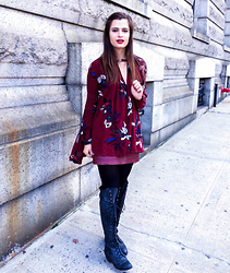 Austen Tosone - Free People Printed Tunic, Free People Vegan Leather Mini Skirt, Jeffery Campbell Lace Up Boots - Burgundy overload