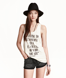 Laura Lambert - H&M Braided Wool Hat, H&M Tank Top, H&M Studded Shorts - Wanting to be someone @lookbook @hm #lotd #ootd @nirvana