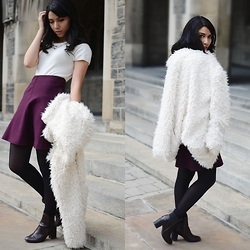 Mouna T - Forever 21 Faux Fur Coat, The Limited Sweater, Winners Skirt, H&M Boots, Ralph Lauren Socks - Fall Time Sweetheart