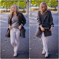 Maria Morri - H&M Isabel Marant X Coat, & Other Stories Cashmere Sweater, Skinny Jeans, Converse Dainty Leather, Proenza Schouler Ps11, Larsson & Jennings Watch - Autumn Pastel
