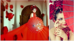 Jane E. - Jathaba Red Dress, Customized Headpiece - China: through the looking glass
