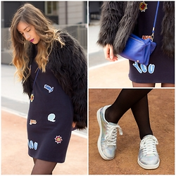Flo R. - Zara Dress, Missguided Faux Fur Coat, New Look Trainers, Asos Bag, New Look Roll Neck Jumper - ZAP BOOM POW