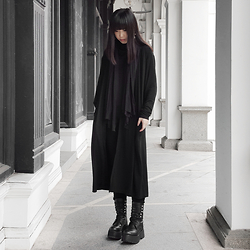 Michelle K - Depression Black Jersey Cardigan, Pull & Bear Jersey Long Scarf, Unif Armada Boots - Modern Death