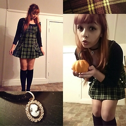 Molly Girard - Thrifted Velvet Cameo Chocker, Stolen From A Pumpkin Patch, Thrifted Plaid Zipper Dress, H&M Knee High Socks, Jacob Black Long Sleeve Shirt - Frankie Stein ⚡