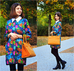 Malinina-ek - - Romwe Coat, Newdress Bag - Autumn flowers