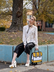 Dani Mikaela McGowan - Jumpfrompaper Backpack, Zara Ballerina Blouse, Zara Leather Shorts, Topshop White Pumps - Still Clueless