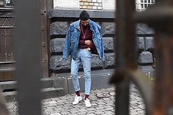 Manij A. - Adidas Shoes, Cheap Monday Jeans, Vintage Jacket - RED WINE