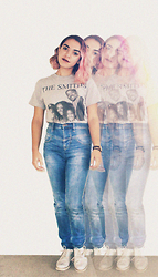 SV - Etsy Gray T Shirt, Urban Outfitters High Waisted Jeans, Asos Holographic Oxfords - The Smiths