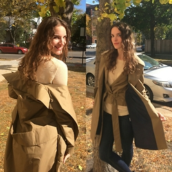 Rebecca - Azabala Double Layer Trench Coat, Aiayu Cream Ingrid Sweater, H&M Conscious Collection Jeans, Half United Long Necklace - Autumn Trench