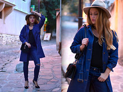 Martina Manolcheva - Choies Denim Trench Coat, Zara Jeans, Zara Hat - Denim Uniform