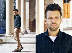 Marc Galobardes - He By Mango Shirt, Zara Trousers, H&M Shoes - GREEN AND BLUE SQUARES