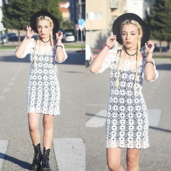 Cátia Gonçalves - Made By My Mom Crochet Dress, Parfois Hat, Dr. Martens Boots - If I turn into another dig me up from under