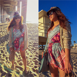 Lily S. - Romper, Sandals, Cardigan, Sunglasses, Bag - Seas The Day // Instagram @pslilyboutique