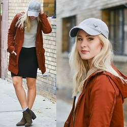 Lisa Prang - American Eagle Outfitters Grey Baseball Hat, Forever 21 Orange Utility Jacket, Forever 21 Black Bodycon Dress, H&M Brown Booties - Simple Fall Layering