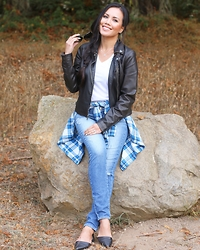 Rachel Vogt - Calvin Klein Leather Flat, My Blog, Express Leather Jacket, Paige Denim Jeans, Uniqlo Plaid Shirt - Plaid look 2