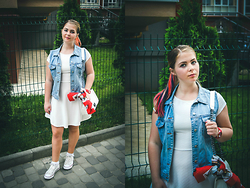 Alexis Benzo - Converse Sneakers, Chanel Bag, Dr. Denim Vest, Bershka Dress - CoLorful Hair