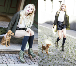 Nicola Marleen - Chicwish Blouse, Chicwish Trench, Bik Bok Shoes, H&M Shorts - Olive Green