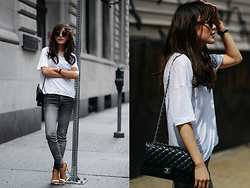 Diana Z Wang - Rag & Bone Slub Tee, Genetic Denim Skinny Jeans, Steve Madden Sandals, Chanel Purse, Super Sunglasses Sunnies - Weekend Usuals