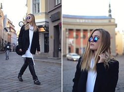 Laura Alksne - H&M Studio Aw15 Coat, Alksne Top/Dress, Rayban Sunglasses, Lindex Faux Leather Pants, Zara Boots - WHEN IN TALLINN