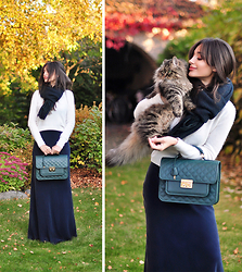 Intrigue U - Cos Chunky Scarf, Topshop Cashmere Jumper, Inga Xavier Leather Satchel, Reiss Maxi Skirt - Pretty Fall