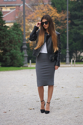 Tamy's Fashion World - Freyrs Sunglasses, Bershka Jacket, Stradivarius T Shirt, Ebay Skirt, Stradivarius Shoes - Grey