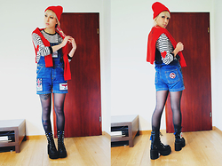 Lunie Chan - Curvys Red Beanie, New Yorker Red Pullover, New Yorker Striped And Hearts Pullover, Boy London Jean Overall, Yosuke Usa Black Platforms - Love You Back