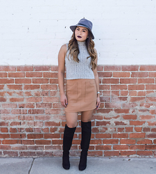 Kyla - Forever 21 Crop Top, Forever 21 Camel Skirt, Forever 21 Fedora Hat, Stuart Weitzman Suede Lace Up Boots - Fall in California