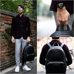 Filippo Fiora - Hamilton Watch, Montblanc Backpack, Dior Homme Sunglasses, Eleventy Sweater, Burberry Pants, Church's Sneakers - SCHOOL BOY
