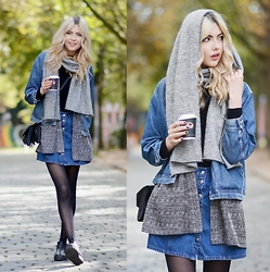 Ebba Zingmark - Monki Blazer, 2hand Denim Jacket, Henry Kole Shoes, Borrowed Skirt, Monki Bag, & Other Stories Scarf - & Other stories