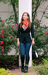 Lindsey Puls - Demon Tz Silk Scarf, Blazer, Dsw Boots - The Pullman Workation Contest Outfit