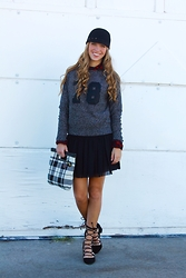 Ally Marie - Banana Republic Lucly #78 Sweater, Ralph Lauren Lumberjack Plaid Flannel, Banana Republic Flirty Skirt, Zara Lace Up Flats - Get in the Game
