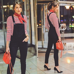 Stephanie Van Klev - Cheap Monday Dungarees, Comme Des Garçons Striped Shirt, Zara Bandana, Valentino Bag, Christian Dior Heels - RED STRIPES