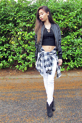 Taylor Wong - Love Culture Leather Jacket, American Eagle Outfitters White Jeggings, Forever 21 White And Blue Flannel, Topshop Lace Up Croptop - Flannel season