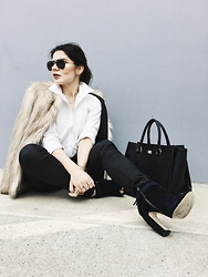 Isabel Alexander - 7 For All Mankind Coated Black Jeans, Zara Coat, Uniqlo Shirt - Black &White + Fur