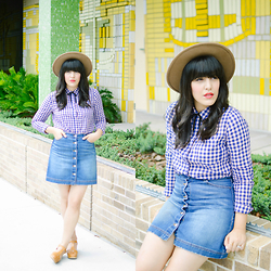 Carla Thompson - H&M Denim Mini Skirt, Forever 21 Fedora Hat, Forever 21 Gingham Top, Swedish Hasbeen Lacy Sandals - Yellow Brick Wall