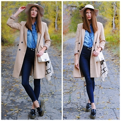Yulia Sidorenko - Reserved Coat, H&M Hat, Newdress Bag, Zara Platform Shoes, Bershka Jeans, Denim&Co Shirt - It's classic!